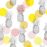 De ananas Naadloos patroon van het de zomer vers overzicht met handdrawi Royalty-vrije Stock Afbeelding