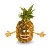 De ananas van het beeldverhaal. Voorwerpen over wit. Stock Foto