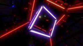 De animatie van de Colorchangings wireframe kubus vjloop met het colorchanging van lichten op achtergrond royalty-vrije illustratie