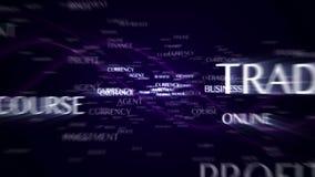 De animatie van de handeltekst en sleutelwoorden, het teruggeven, achtergrond, met definitieve explosie en het groene scherm, lij vector illustratie