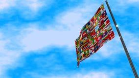 De Animatie van de wereldvlag stock footage