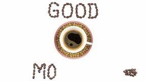 De animatie van de eindemotie met een kop koffie en koffiebonen vector illustratie