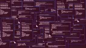 De animatie van het scherm die van de computermonitor van de bron venstersomslag code tonen en het tekstalarm ondertekenen waarsc