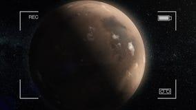 De Animatie van Mars Planeet Mars in kosmische ruimte, die rond zijn as met sterren op de achtergrond spinnen stock illustratie