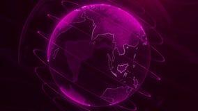 De animatie van de pixelaarde Animatie van ruimte met digitale exploderende Aarde, de Abstracte achtergrond van de wereldkaart ro vector illustratie
