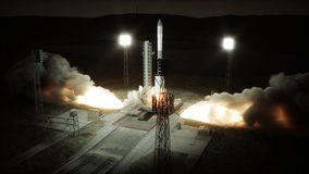 De animatie van de raketlancering Daglicht Ruimtelanceringssysteem het 3d teruggeven Stock Afbeeldingen