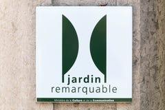 De anmärkningsvärda trädgårdarna av den Frankrike etiketten Fotografering för Bildbyråer