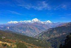 De Annapurna-Waaier Himalayagebergte stock foto