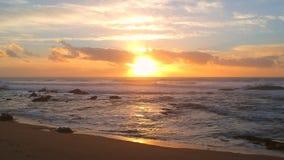 De antenne schoot over zandige strand en de Atlantische Oceaan bij zonsondergang met bezinningen over het water stock video
