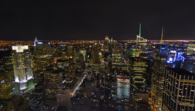 De Antenne van de Horizon van de Nacht van de Stad van New York Royalty-vrije Stock Foto's