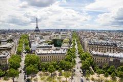 De antenne van Parijs met de Toren van Eiffel Stock Afbeeldingen