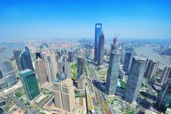 De antenne van Shanghai in de dag royalty-vrije stock afbeelding