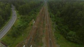 De Antenne van de spoorwegbrug stock video