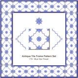 De antieke Bloem van de het patroonset_176 Blauwe Ster van het tegelkader Stock Afbeeldingen