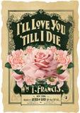 De antieke Botanische Roze Collage - Sjofele Elegant - nam - Uitstekende Bladmuziek - Verontruste Document Achtergrond toe stock fotografie