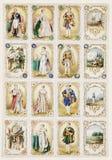 De antieke Franse adel wisselt kaarten uit Stock Fotografie