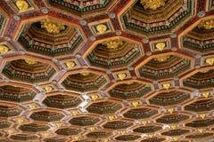 De antieke houten textuur van het ornamentetplafond stock fotografie