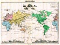 De antieke Kaart van 1870 Wereld Stock Afbeeldingen