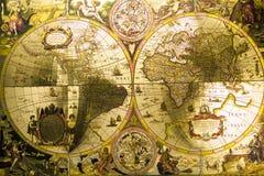 De Antieke Kaart van de wereld Stock Foto