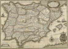 De antieke kaart van Spanje en van Portugal in sepia toon royalty-vrije stock foto