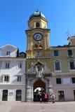 De antieke klokketorenbouw in Rijeka Kroatië royalty-vrije stock foto