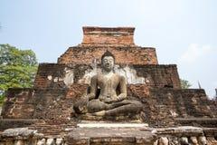 De antieke meditatie van Boedha voor de pagode Royalty-vrije Stock Fotografie