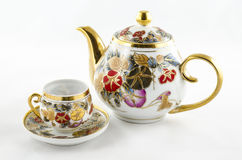 De antieke porseleinthee en coffe plaatste Stock Afbeelding