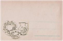 De antieke prentbriefkaar van de stijlkeuken met theepot en theekop stock illustratie
