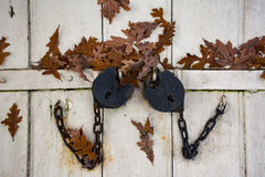 De antieke sloten sluiten de kelderdeur Stock Foto