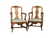 De antieke stoel van de chippendalestijl met woorgravure royalty-vrije stock fotografie