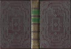 De antieke Uitstekende Dekking van het Leer Open Boek royalty-vrije stock foto's