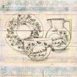 De antieke uitstekende kunst van de stijl sjofele grungy bloemenmuur met thee omhoog en kruik stock illustratie