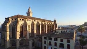 De antieke vierkante luchtlengte van Palma de Mallorca stock footage