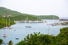 De Antigua, de Caraïbische eilanden, de Engelse Haven en Nelson ` s dokken werf Stock Afbeeldingen