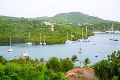 De Antigua, de Caraïbische eilanden, de Engelse Haven en Nelson ` s dokken werf Royalty-vrije Stock Fotografie
