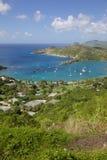 De Antillen, de Caraïben, Antigua, Mening van Engelse Haven van Shirley Heights stock foto