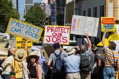 De antiProtesteerders Maart van het Steenkoollaaggas op het Parlement Huis Royalty-vrije Stock Afbeelding