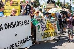 De antiProtesteerders Maart van het Steenkoollaaggas op het Parlement Huis Royalty-vrije Stock Fotografie