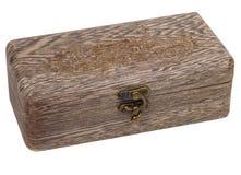 De antiquiteit graveerde houten geïsoleerde juwelendoos royalty-vrije stock foto