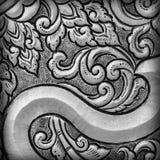 De antiquiteit graveerde zilver, kan als decoratie Thailand voor worden gebruikt stock foto's
