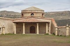 De antiquiteit herstelde templar kasteel in Cantavieja, Teruel spanje stock afbeelding