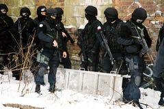 De antiterroristenpolitie van de onderverdeling. Stock Fotografie