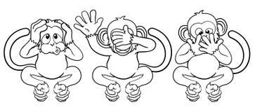 De apen zien horen Geen Kwade Beeldverhaalkarakters spreek royalty-vrije illustratie