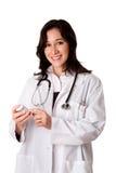 De apotheker die van de arts medicijn verklaart Stock Afbeelding