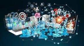 De apparaten en de bedrijfsvoorwerpen verbonden samen het 3D teruggeven Royalty-vrije Stock Fotografie