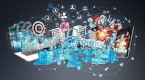 De apparaten en de bedrijfsvoorwerpen verbonden samen het 3D teruggeven Royalty-vrije Stock Afbeelding