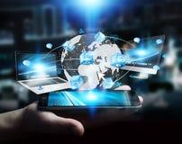 De apparaten en de pictogrammen van technologie aan digitale aarde worden aangesloten die Royalty-vrije Stock Foto