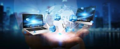 De apparaten en de pictogrammen van technologie aan digitale aarde worden aangesloten die Stock Afbeelding