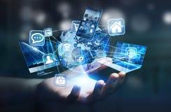 De apparaten en de pictogrammen van technologie aan digitale aarde worden aangesloten die vector illustratie