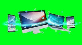 De apparaten en de pictogrammen de toepassingen van technologie verbonden het 3D teruggeven Royalty-vrije Stock Foto
